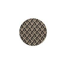 Black Damask Mini Button