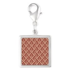 Red Damask Silver Square Charm