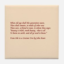 Ode to Grecian urn Tile Coaster