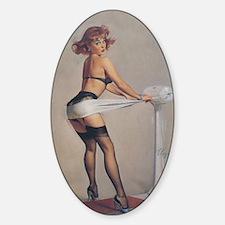 Classic Elvgren 1950s Pin Up Girl Sticker (Oval)