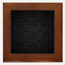 Elegant Black Flourish Framed Tile
