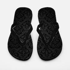 Elegant Black Flourish Flip Flops