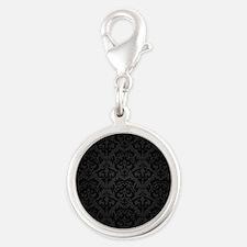 Elegant Black Flourish Silver Round Charm