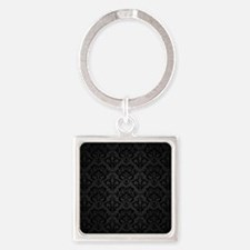 Elegant Black Flourish Square Keychain
