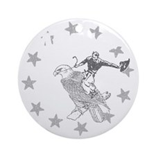 Murica Cowboy and Eagle Round Ornament
