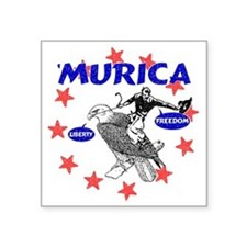 """Murica Eagle and Cowboy Square Sticker 3"""" x 3"""""""