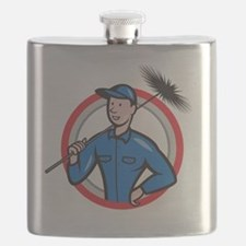 Chimney Sweeper Cleaner Worker Retro Flask