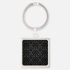Elegant Black Flourish Square Keychain