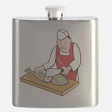 Sushi Chef Butcher Fishmonger Cartoon Flask