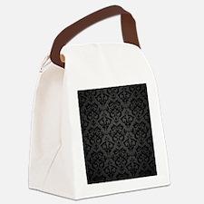 Elegant Black Flourish Canvas Lunch Bag
