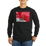 Red Gerber Daisy Long Sleeve Dark T-Shirt