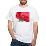 Red Gerber Daisy White T-Shirt