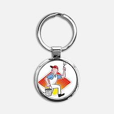 Plaster Masonry Worker Cartoon Round Keychain