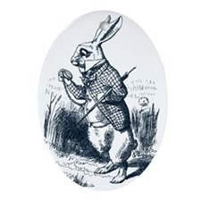 Late Rabbit Oval Ornament
