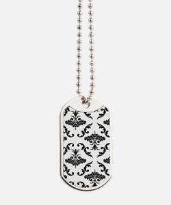 Black Damask Dog Tags