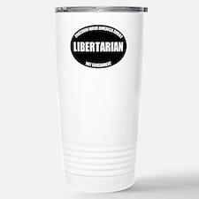 Libertarian Oval BW Stainless Steel Travel Mug