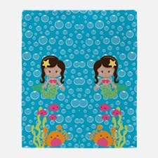 Ethnic Girl Mermaids Throw Blanket