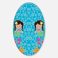 Ethnic Girl Mermaids Sticker (Oval)