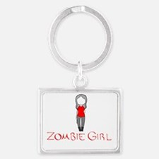 Zombie Girl Design Inverted Landscape Keychain