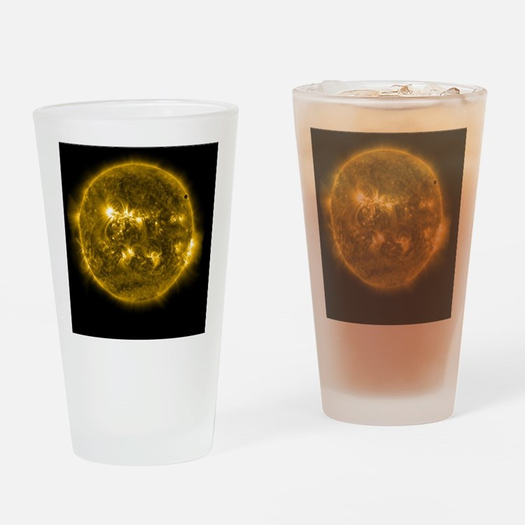 Moon Passing Sun Drinking Glass