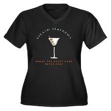 HAPPY HOUR w Women's Plus Size Dark V-Neck T-Shirt