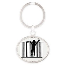 I LIVE IN A GATED COMMUNITY Oval Keychain