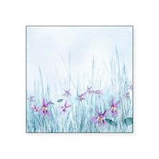 """Winter Violets Square Sticker 3"""" x 3"""""""