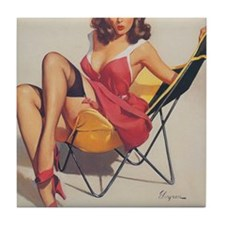 Classic Elvgren 1950s Vintage Pin Up  Tile Coaster