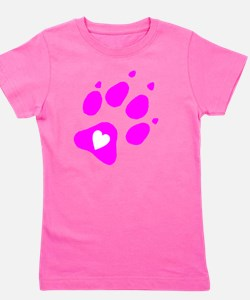 pink paw print for pants with hear insi Girl's Tee