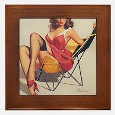 Classic Elvgren 1950s Vintage Pin Up G Framed Tile