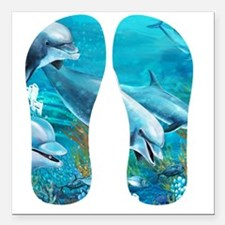 "Beautiful Dolphin Painti Square Car Magnet 3"" x 3"""