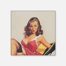 "Classic Elvgren 1950s Vinta Square Sticker 3"" x 3"""
