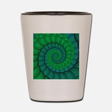 Blue and Green Fractal Art Shot Glass