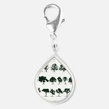 Tree Silhouettes Green 1 Silver Teardrop Charm