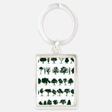 Tree Silhouettes Green 1 Portrait Keychain