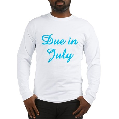 Due In July Blue Long Sleeve T-Shirt