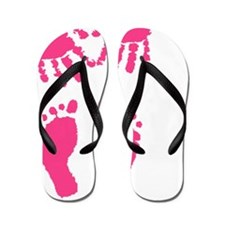 Baby girl love hand and footprint Flip Flops