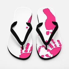 Baby girl love hand and footprint Flip Flops