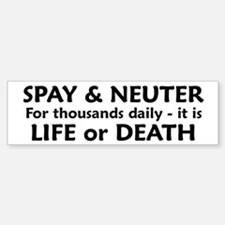 Black and White Spay/Neuter Bumper Bumper Bumper Sticker