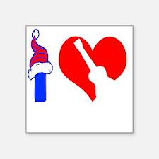 "I Love Ukulele Square Sticker 3"" x 3"""