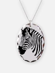 Zebra Head Necklace Oval Charm