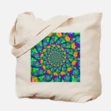 Rainbow Turquoise Fractal Tote Bag