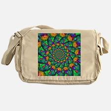 Rainbow Turquoise Fractal Messenger Bag