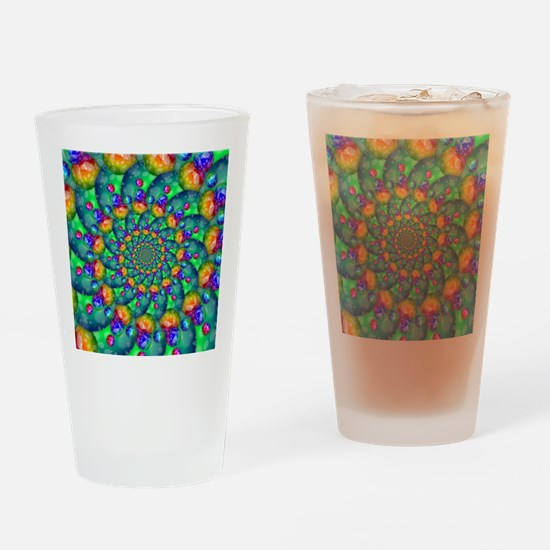Rainbow Turquoise Fractal Drinking Glass