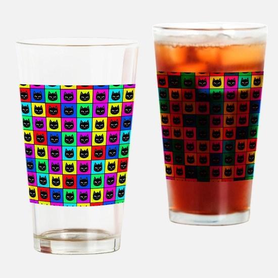Rainbow Square Cat Pattern Drinking Glass