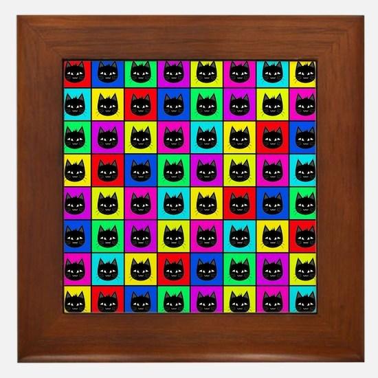 Rainbow Square Cat Pattern Framed Tile