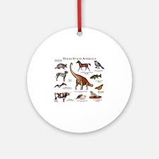 Texas State Animals Round Ornament