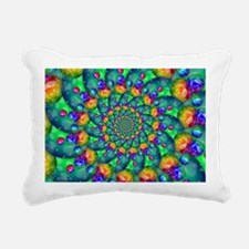 Rainbow Turquoise Fracta Rectangular Canvas Pillow