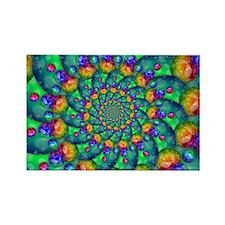 Rainbow Turquoise Fractal Rectangle Magnet