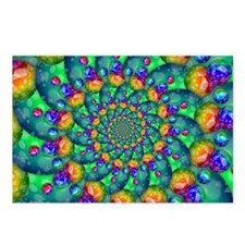 Rainbow Turquoise Fractal Postcards (Package of 8)